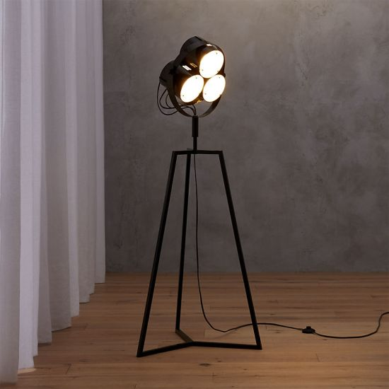 This rotating floor lamp adds the charm of 40s to this room