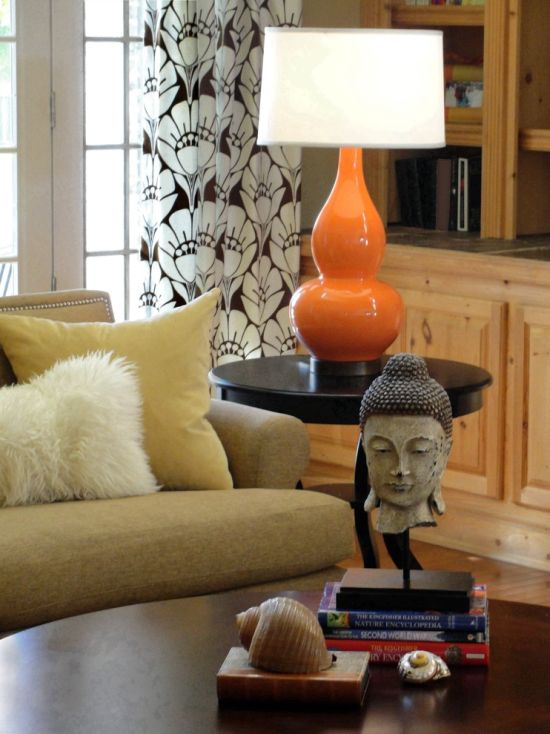tiffany lamp shade adorns the corner of this living room - Living Room Lamps