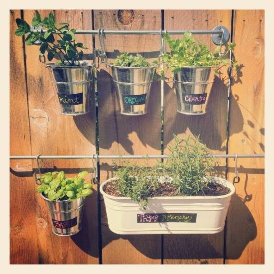 Vertical Herb Garden Using Buckets