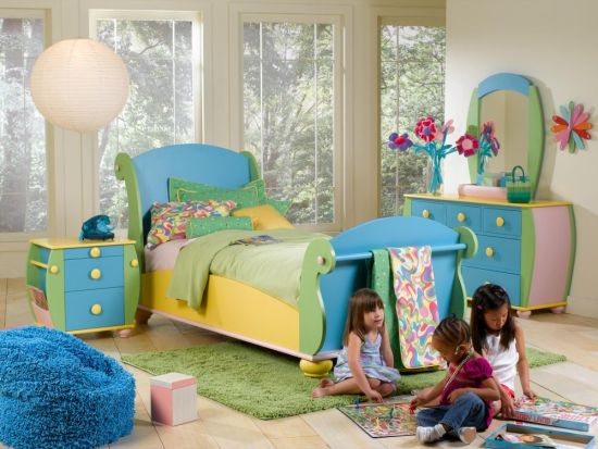 Cute Whimsical blue and yellow themed furniture set for playful kids room decor