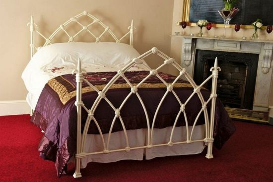 Luxury White Medieval Metal Bed Frame