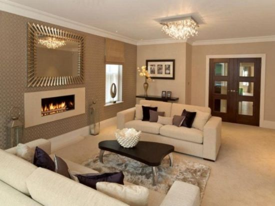 Awesome Living Room Decor With Silver Framed Mirror