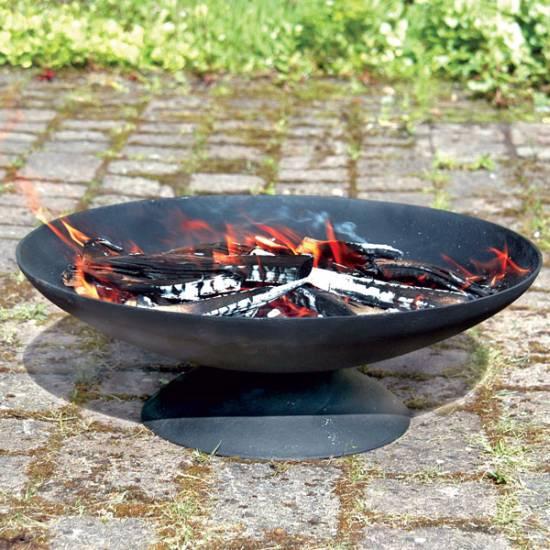 Black Metal Large Low Fire Pit Bowl