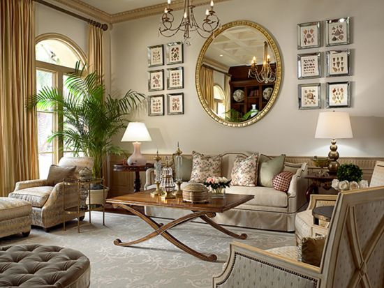 Elegant living room decor with golden decorative mirror