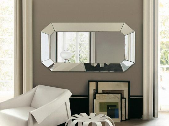 Luxurious living room decor with silver stainless steel-mirror