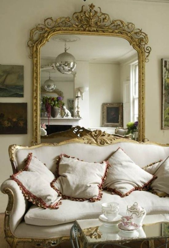 large decorative wall mirror. Ornamental golden framed mirror Living Room Decorating Ideas with Mirrors  Ultimate Home