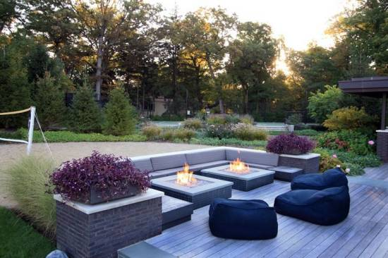 Outdoor Double Square Firepits