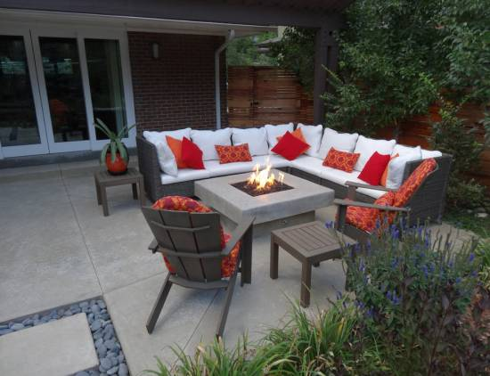 Outdoor Fire Pit Ideas Patio Contemporary with Black Smooth Stones Brick