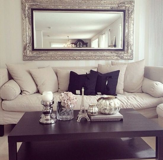 Rectangular Silver Framed Mirror For This Elegant Living Room