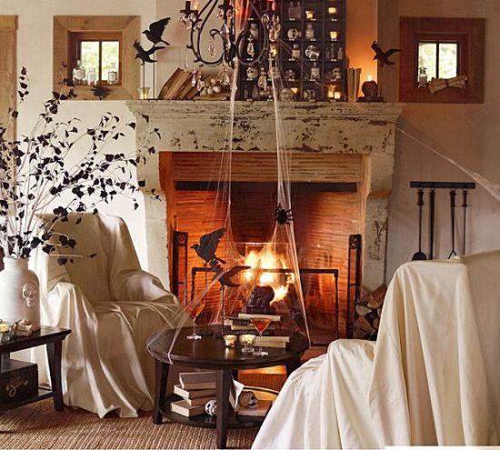 Spooky Halloween Decor With Cobwebs And Ravens