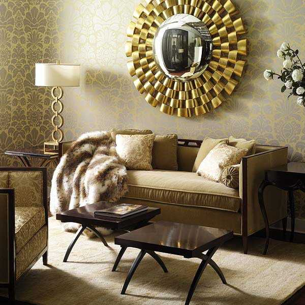 living room decorating ideas stunning golden round decorative mirror