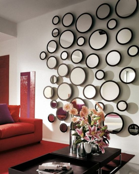 These Round Mirrors On The Wall Add A Focal Point In This Living Room