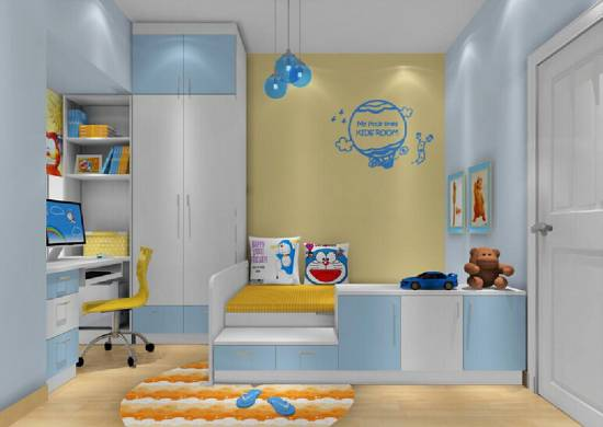 Awesome Beautiful Blue And Yellow Kids Bedroom Decor