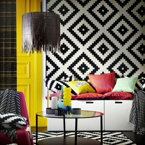 Cheap Black And White Geometric Rug In An Eclectic Living Room With