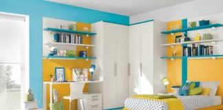 Blue Yellow And White Bed Sets Wall Shelves And Study Table