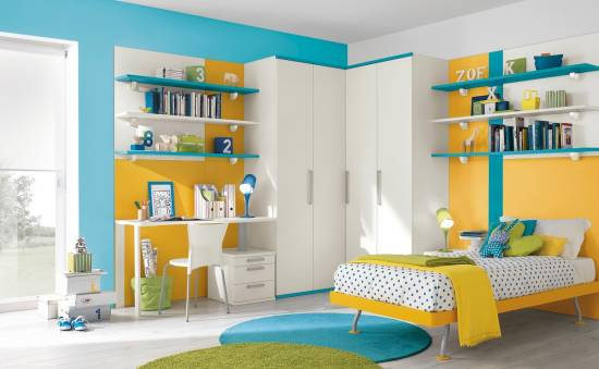 Stunning Blue Yellow And White Bed Sets Wall Shelves And Study Table