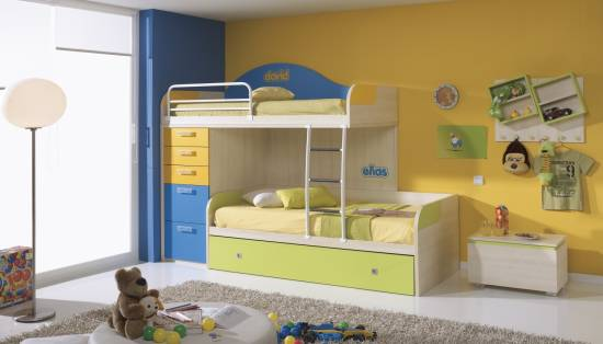 Spectacular Charming Picture of Blue and Yellow Kid Bedroom Decoration