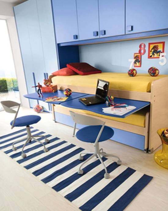 Marvelous Creative Blue Boys Bedroom With Yellow Bed and Blue Wardrobe