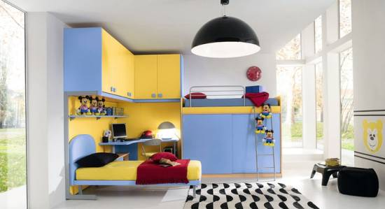 Trend Elegant Blue and Yellow Kids Room With Mickey Mouse Decor