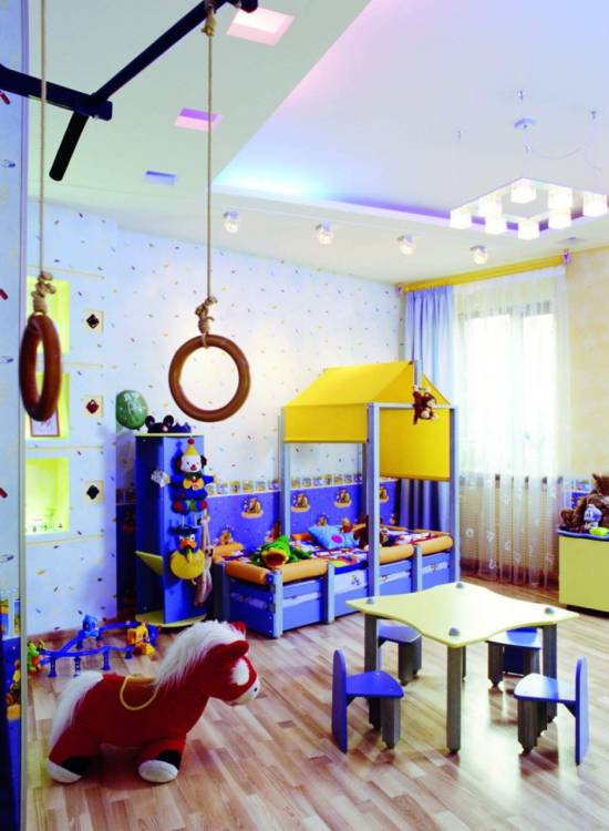 Fantastic Blue Yellow Kid Bedroom Decoration
