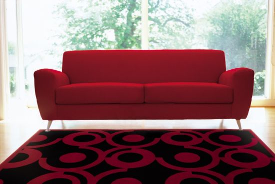 Geometric Red And Black Rug Stylizes This Living Room Part 88