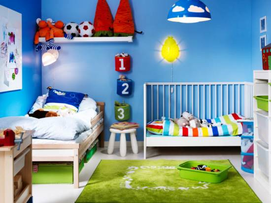 Spectacular Kids Room Decor With Blue Wall Paint And Yellow Insect Shaped Lamp