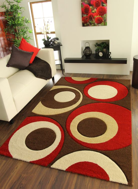 Modern Red And Brown Geometric Rug
