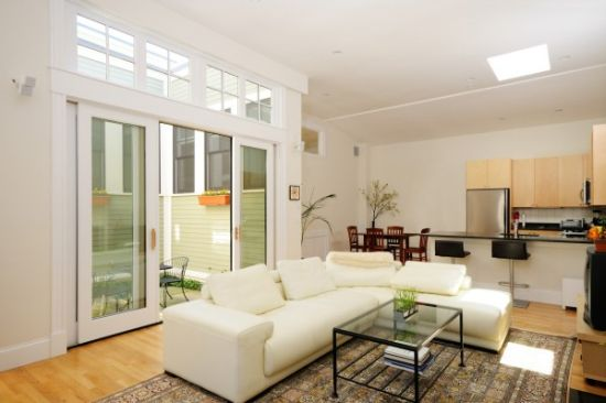 White wooden sliding doors for a modern living room