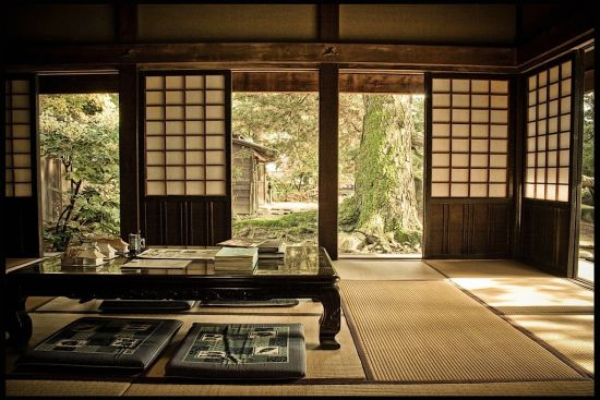 zen inspired asian living room with sliding door