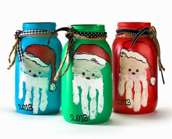 DIY Christmas mason jars with Santa hand prints