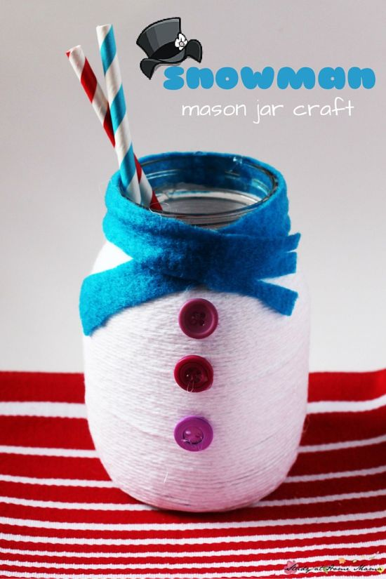Superb Easy kids DIY mason jar snowman