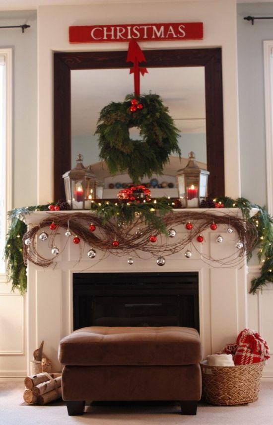 Christmas Mantel Ideas Rustic Garland Mantelpiece Decor