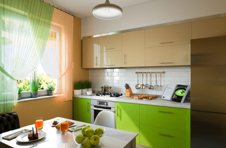 Kitchen-with-green-cabinets