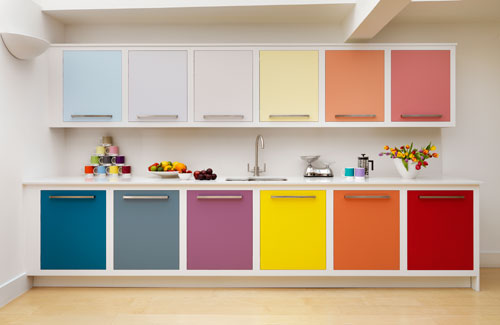 Rainbow colored cabinet doors
