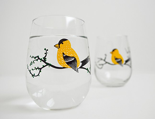 Yellow Finch Stemless Glasses