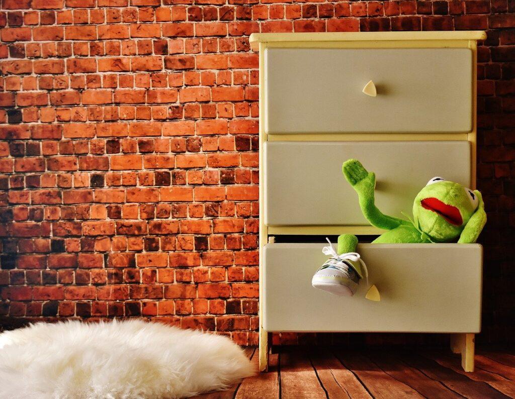 stuffed animal in dresser