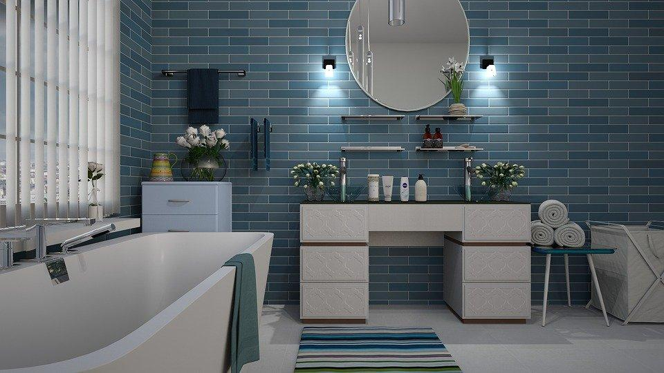 Rendering of a bathroom with blue tiles