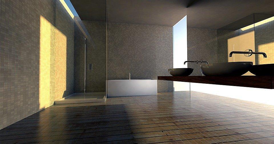 Rendering of a bathroom
