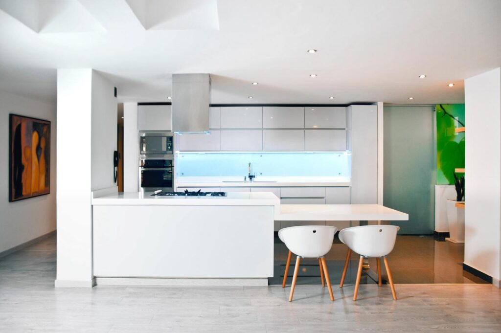 Kitchen featuring modern interior design with functional pieces