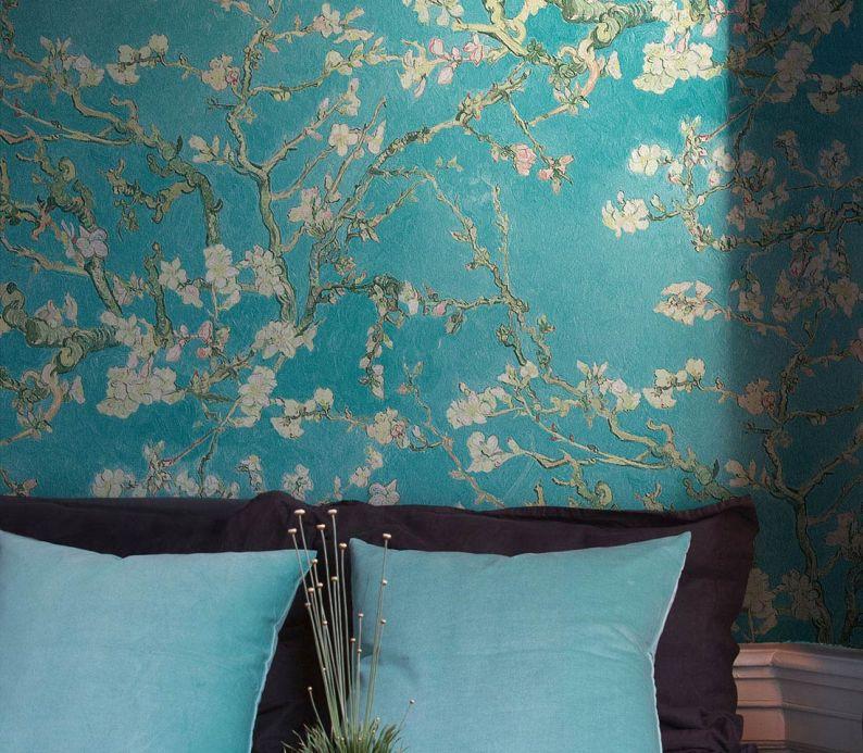 Bedroom Wallpaper Wallpaper VanGogh Blossom turquoise Room View
