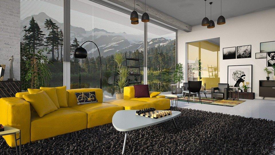 Desk lamp next to sofa set