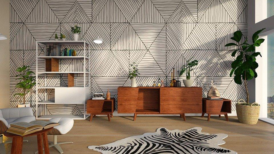 Living spaces with geometric patterns and sculptural elements.